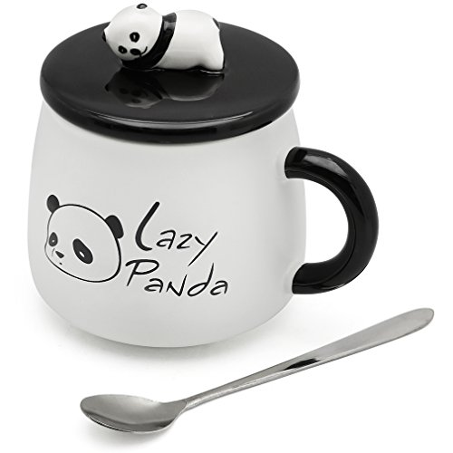 EPFamily Cute White 3D Panda Mug Funny Porcelain Coffee Mugs Set Small Ceramic Tea Cups Black with Lid and Spoon Gifts for Women Men Mom Grandma 14 Oz
