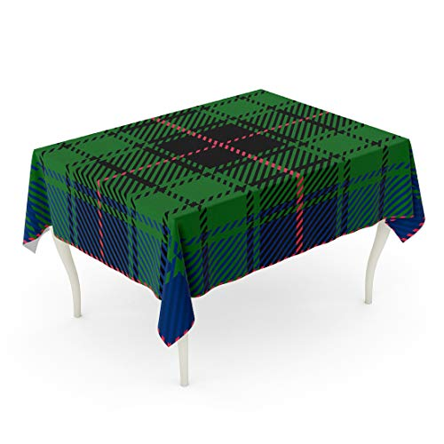 - Semtomn 60 x 90 Inch Decorative Rectangle Tablecloth Blue Abstract Scottish Clan Davidson Traditional Tartan Plaid Green Waterproof Oil-Proof Printed Table Cloth