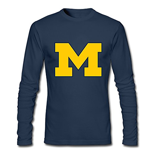 Michigan Wolverines Mens 100% Cotton Long Sleeve T-Shirts Navy XX-Large