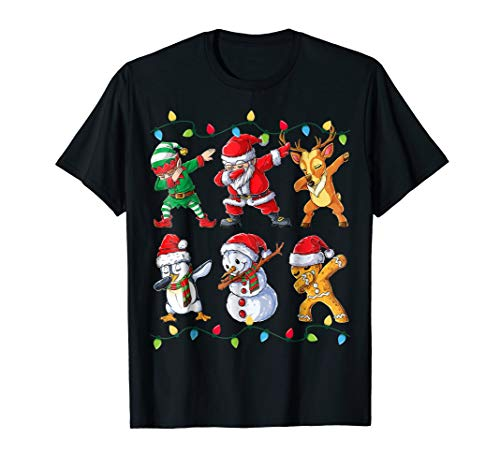 Dabbing Santa Elf Friends T shirt Christmas boys Xmas Gifts