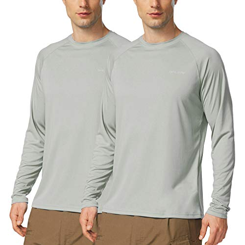 Baleaf Men's UPF 50+ Outdoor Running Workout Long-Sleeve T-Shirt 2 Pack Gray Size L
