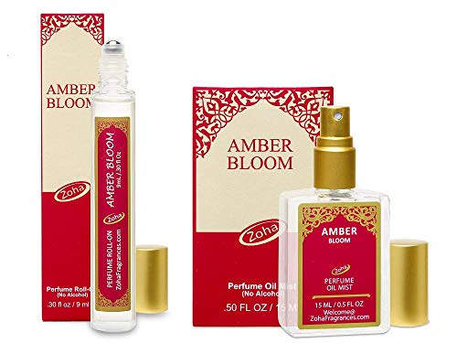 Amber Bloom Perfume Oil - Amber Fragrance oil set of 9ml Roll-On and 15ml Oil Mist (no Alcohol) Perfumes for Women and Men in Giftable boxes