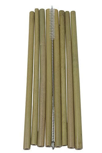 Bambú Premium Organic Bamboo Drinking Straw Set - 8 Reusable Hand Crafted Straws - Eco-Friendly & Biodegradable - Cleaning Brush & Linen Bag Included by Bambú