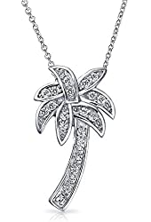 Bling Jewelry Sterling Silver CZ Pave Palm Tree Pendant Necklace 16in