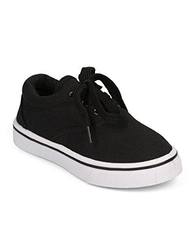 Canvas Round Toe Classic Lace up Sneaker (Toddler/Little Boy/Big Boy) DG59 - Black (Size: Little Kid (Big Kid Jelly Bean)