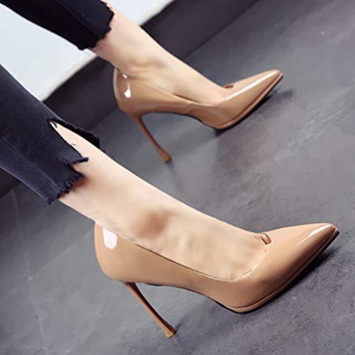 stiletto e da fine tacchi YMFIE leggera alti scarpe da punta elegante autunno lavoro vernice a Primavera scarpe singole scarpe in sposa C temperamento Rgg5qY