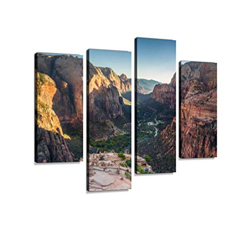 Zion National Park at Sunset, Utah, USA Canvas Wall Art Hanging Paintings Modern Artwork Abstract Picture Prints Home Decoration Gift Unique Designed Framed 4 Panel ()