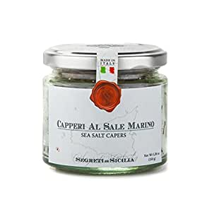 Frantoi Cutrera - ITALIAN Capers in Sea Salt - Capperi Al Sale Marino - 5.3oz (150g)