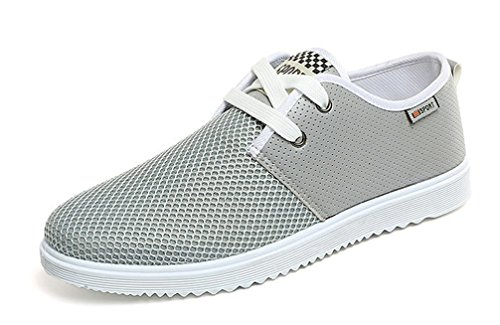 Canvas Shoes VECJUNIA Up Flat Gray Outdoor Toes Closed Mens Lace Breathable Fashion Casual qfqx1zHU