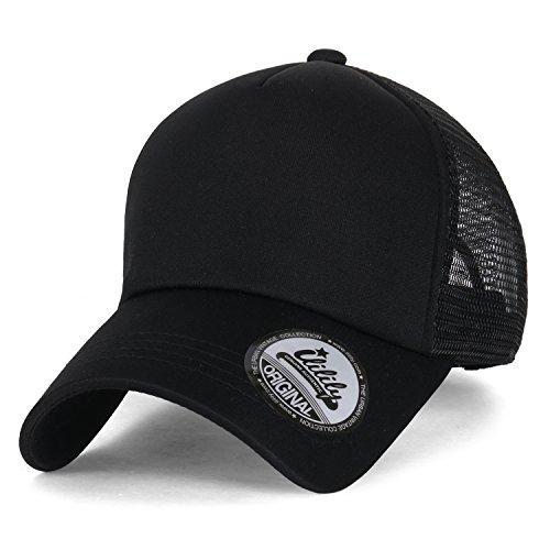 ililily Plain Baseball Cap Simple Mesh Snapback Color Trucker Hat , All - Blacks All Hats