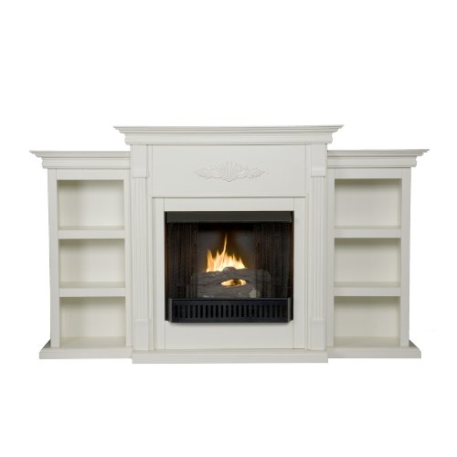 Southern Enterprises SEI Tennyson Gel Fuel Fireplace with Bookcases, Ivory