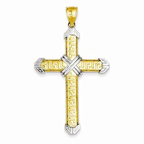 14K Two Tone Gold Greek Key Cross (Two Tone Gold Greek Key)