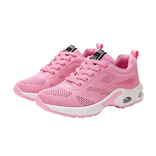 Sfit Damen Laufschuhe Atmungsaktiv Leichte Sneaker Air Sohle Fitness Wanderschuhe Keilabsatz Turnschuhe Schnürer Running Shoes Rosa
