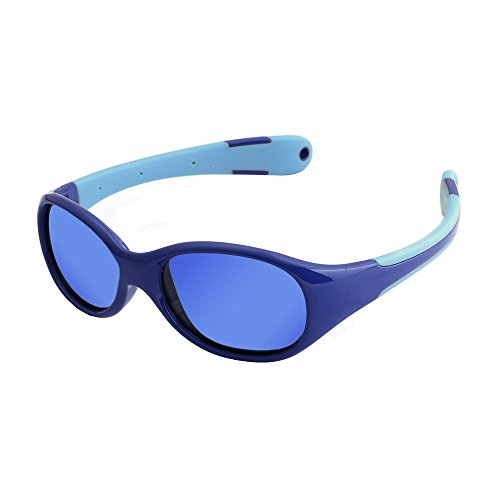 Bendable Rubber Kids Polarized Sport Sunglasses Boys Girls Sunglasses Fit Age 3-12 Yrs-With A Hole On Each Arm That You Can Add A Strap By Yourself