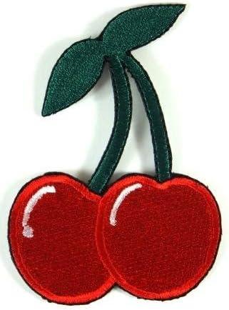 【ノーブランド品】 キュート チェリー さくらんぼ アイロンワッペン 刺繍 パッチワッペン