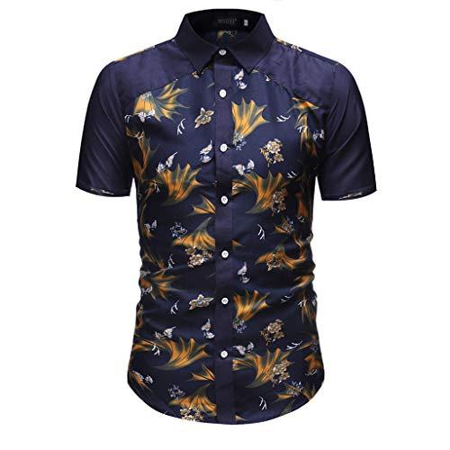 Landscap_Men Dress Shirts Casual Short Sleeve Business Slim Button Down Shirt Print Blouse Tops (Navy,XL)