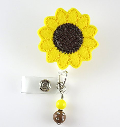 Sunflower - Nurse Badge Reel - Retractable ID Badge Holder - Nurse Badge - Badge Clip - Badge Reels - Pediatric - RN - Name Badge Holder