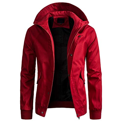 HULKAY Solid Color Zipper Hooded Jacket Trench Coat for Men Long Sleeve Zipper Button Fashion Charm Tops with Pockets(Red,L)