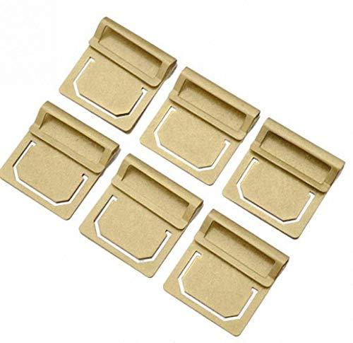 Amupper Brass Bookmark Set Index Clip - Book Mark File Clamp Set of 6 ()