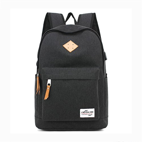 With Water Laptop Student Polyester USB Repellent Rucksack inches charging port 14 Black Backpack Leisure Package vqwYAq