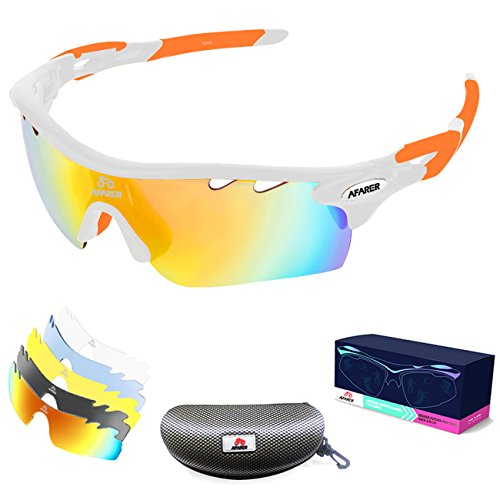 AFARER Polarized Sports Sunglasses for men women Outdoor Driving Fishing Cycling Running Golf with 5 Set Interchangeable Lenses TR90 Unbreakable Frame (White Orange)