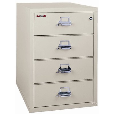 Fireproof 4-Drawer Card, Check and Note Vertical File Finish: Brown, Lock: E-Lock by FireKing