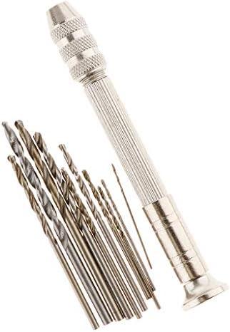 ハンドドリル キット ステンレスピンバイス 穴あけドリル 時計修理 手芸 DIY工具 約10サイズセット