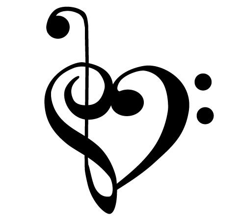 amazon com bass and treble clef heart decal sticker automotive rh amazon com treble bass heart necklace treble bass clef heart tattoo