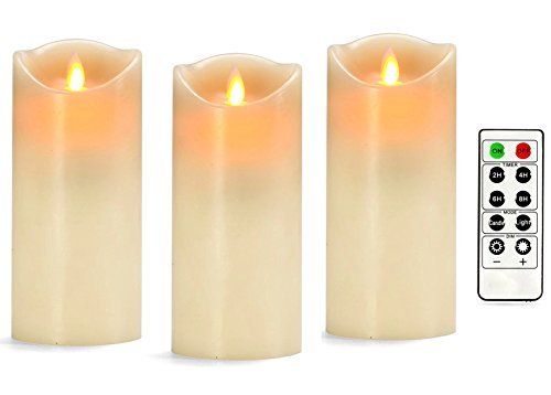 [3 Pack] Ponvey 7 inch Large Real Wax Flameless Candles, Battery Candles with Remote Timer and All Batteries Included, Warm Yellow - 7 Candle Inch