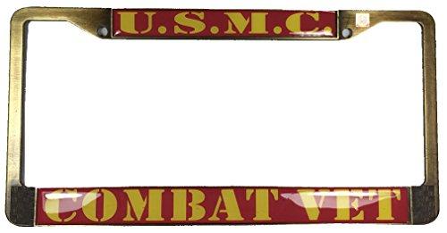 (U.S. Marine Corps USMC Combat Veteran License Plate Frame - Veteran Owned Business USMC Retired )