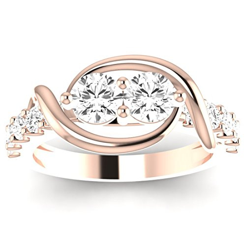 1 Carat t.w. Contemporary Prong Set 2rue Love 2 Stone Collection Round 14K Rose Gold Diamond Engagement Ring (F-G Color, VS2-SI1 ClarityCenter Stones) (Set Diamond Two Colour)