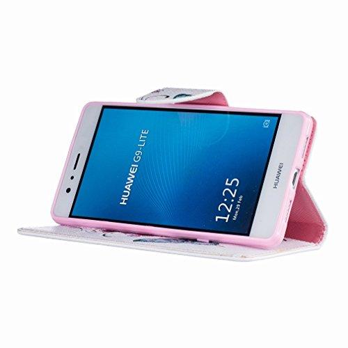 Yiizy Huawei P9 Lite Huawei G9 Lite Funda, El Vuelo De La Mariposa Diseño Solapa Flip Billetera Carcasa Tapa Estuches Premium PU Cuero Cover Cáscara Bumper Protector Slim Piel Shell Case Stand Ranura
