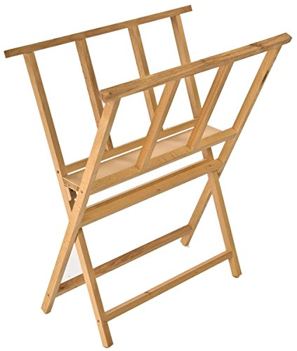 - Displays2go Beech Wood Print Rack for Artwork Storage, X-Frame Design