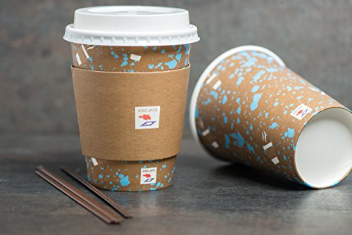Brown Cup Espresso (Jays 120 set Paper Coffee Hot Cups with Lids, Sleeves and Straws - Espresso Hot Cup To Go Travel Mugs Office/Party Pack Tea Caramel Espresso Disposable Coffee Bean Cocoa & Chocolate 12OZ insulated)