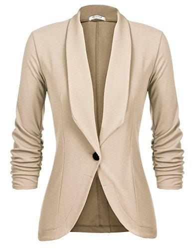 Button Front Suit - Beyove Womens 3/4 Sleeve Lightweight Open Front Cardigan Blazer Jacket Khaki S