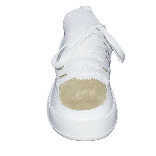 Sneakers bassa made in italy art az0120 bicolore beige/bianco vera pelle fondo bianco curvo made in italy comfort