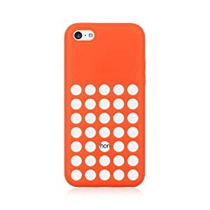iPhone 5C Case, [Neon Red/ Orange] Soft & Flexible Reinforced Silicone Skin Cover for Apple iPhone 5C (2013)