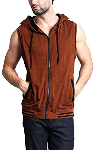 Victorious Lightweight Athletic Casual Sleeveless Contrast Hoodie TH890 - Mocha/Black - Small - HH1B
