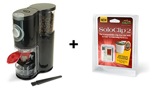 Solofill SOLOGRIND 2-in-1 Automatic Single Serve Coffee Burr Grinder for Coffee Pod