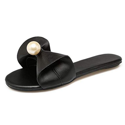 Sandales Flops D'éTé Bling De Femmes Les Mode Pearl Flats Pantoufles Noir Flip SwFECq