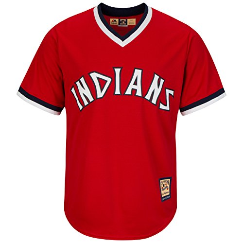 Cleveland Indians Red Replica Cool Base 1975-76 Cooperstown Jersey by Majestic Select Size: (Majestic Cleveland Indians Jersey)