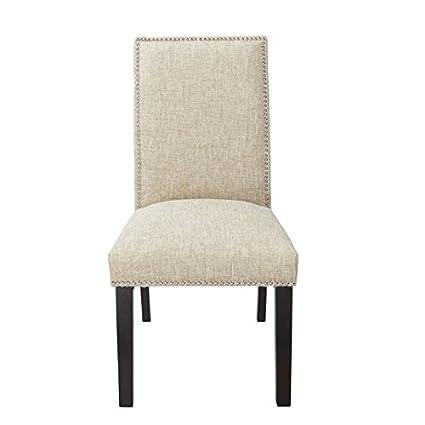 Beau Burnett Parsons Chair In Sand Woven Burlap Upholstery