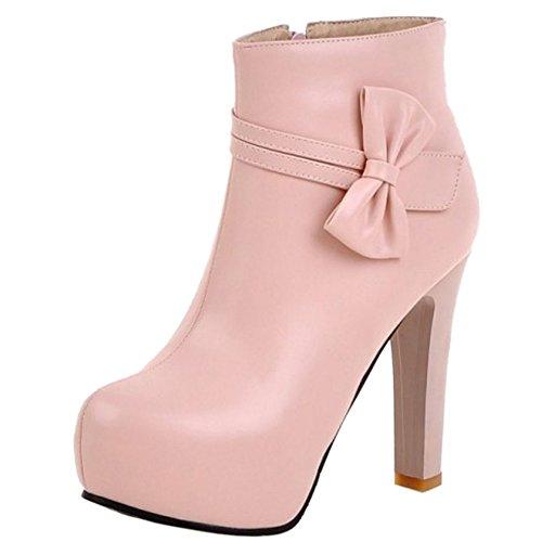 Cularacci Rosa Alto Stivali Caviglia Donna Tacco Moda rYrTg