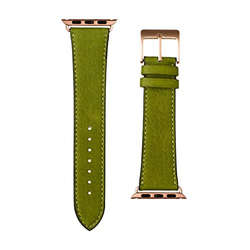 Roobaya | Premium Sauvage Leather Apple Watch Band in Moss Green | Includes Adapters matching the Color of the Apple Watch, Case Color:Rose Gold Aluminum, Size:38 mm by Roobaya (Image #2)