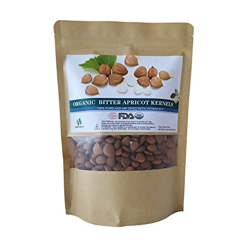 Certified Organic Bitter Apricot Kernels 16oz,Natural Raw Bitter Apricot Seeds (1LB)
