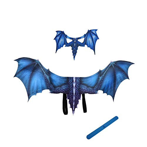YUNZHE Dragon Mask and Wings and Silicone Balloon Band (3PC) Suitable for Halloween Masquerade Costume Carties Beer Festival Adult Fancy Dress Carnival Christmas Easter Other Parties (Blue) ()