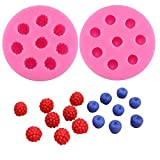 Molds for Cupcakes Topper Decorating 2pack Blueberry Raspberry Icecube Silicone Molds, Fondant Cake Decorating Molds,Baking Tools, Chocolate Candy Making Mold