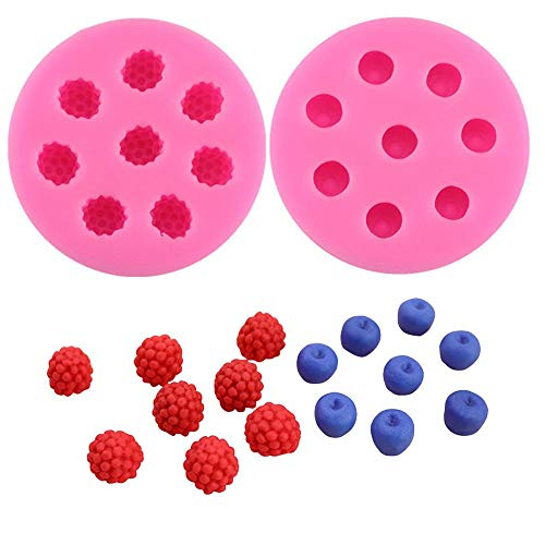 Molds for Cupcakes Topper Decorating 2pack Blueberry Raspberry Icecube Silicone Molds, Fondant Cake Decorating Molds,Baking Tools, Chocolate Candy Making ()