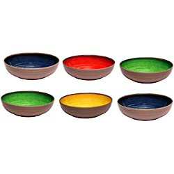 Melange 6-Piece 100% Melamine Pasta Bowl Set (Clay Collection ) | Shatter-Proof and Chip-Resistant Melamine Pasta Bowls | Color: Multicolor
