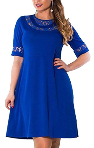 Midi Dress Tall and 2 Blue Lace Splicing Sleeve 1 Big Domple Casual Womens vPtxHnU